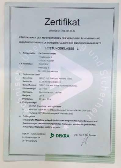 Zertifikat für Ölspurbeseitiger